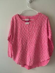 FRESH PRODUCE Small PINK Cotton Catalina 3/4 Top $59 NWT New S