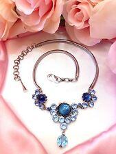 Beautiful Vtg CHRISTIAN DIOR by HENKEL & GROSSE Baby Blue Rhinestone Necklace