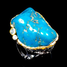 Unique Rough GEM Natural Turquoise 925 Sterling Silver Ring Size 8.5/R119406