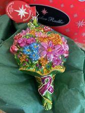 Christopher Radko 20Th Anniversary Flower Power Glass Ornament w/ Tag Box