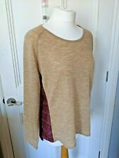 ORVIS thin knit top Size S 12-14 wool & polyester long sleeved jumper beige