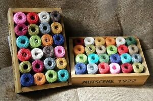 Nutscene Heritage Twine One Wooden Crate of Mini spools - 24 Mixed Colours (13m