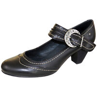 RRP £65 PIKOLINOS WOMENS COURT BUCKLE SHOES HEELS BLACK LEATHER MODEL UK 6.5-7.5