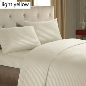 King Queen  Nordic Bedding Set Linen Black White Microfiber Stripe Sheet Pillow