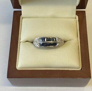 "'9ct White Gold, Sapphire & Diamond Dress Ring"""