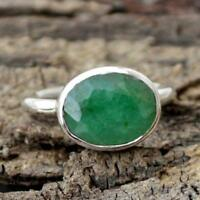 Natural Faceted Emerald Gemstone 925 Sterling Silver Gift Ring Size 12