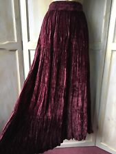 Burgundy Red Crushed Pleated Velvet Long Maxi Tiered Gothic Hippy Gypsy Skirt 14