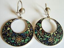 MEXICO STERLING SILVER CRUSH INLAY HOOP EARRINGS w/ INLAY FLORAL WIRE Eagle #3