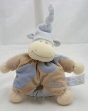 Ti Amo doudou hippopotame velours beige et bleu avec grelot 18 cm environ
