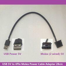 5V USB Power to 4Pin Molex 5V Female Power Converter Cable Adapter 28cm
