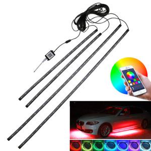 4pcs RGB Car LED Strip Decorative Lamp Ambient Underglow Underbody APP Control