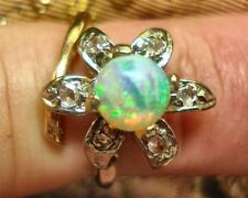 ANTIQUE OPAL AND ROSE CUT DIAMOND RING 14K YG SIZE 5.5 #AORR