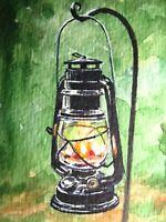 Watercolor Painting Kerosene Lamp Light ACEO Art