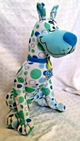 Vintage SCOOBY-DOO Blue Green Polka Dot Plush Stuffed Dog Toy Factory Large 13""