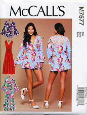MCCALL'S SEWING PATTERN 7577 MISSES 14-22 MOCK WRAP ROMPER/PLAYSUIT & JUMPSUIT