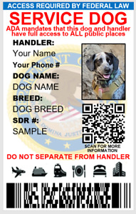 CUSTOMIZABLE SERVICE DOG  ID CARD PVC & DIGITAL CARD