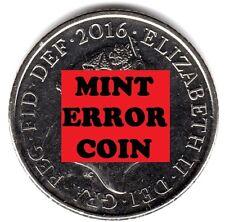 2016 10P COIN RARE SHIELD * ERROR MULE * TEN PENCE Face Ghosting (a)