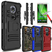 For Motorola Moto G6 Play/Forge Case With Kickstand Belt Clip + Screen Protector