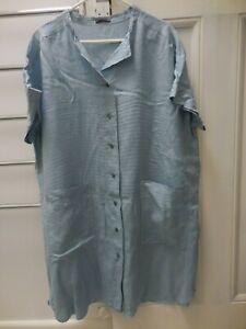 OSKA BLUE LINEN BOXY DRESS POCKETS 16 18 20 EXC COND