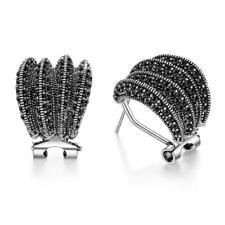 Silver Stud Earrings for Women Girl Mytys Fashion Black Marcasite Earrings Retro