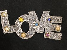 "6 1/2"" Love Rhinestone Bead LOVE Iron On Patch (Bead color various)"