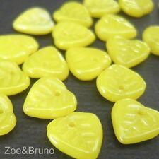 20 Chartreuse Heart - Czech Glass Chartreuse Yellow Leaf Beads 10x10mm