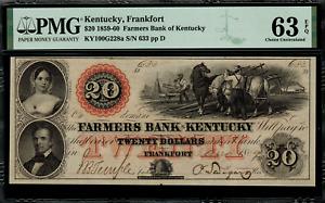 1859-1860 $20 Obsolete - Frankfort, Kentucky - Farmers Bank - PMG 63 EPQ