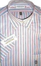 Van Heusen Dress Shirt Striped White Cotton Blend Size 14 - 14 1/2 Short Sleeve