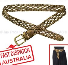 Plaited Braided Waist Pants Jean Belt women Ladies Narrow Boho Hippie Bronze PU