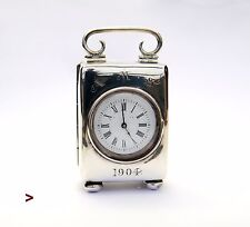 1904 Antique British French Stelring Silver clock Travel Clock