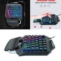 One Hand Gaming Keyboard 35 Keys Rainbow Backlit Wrist Rest Ergonomic Keypad