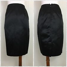 Vintage Diane Von Furstenberg New York Paris DVF Black Satin Pencil Skirt