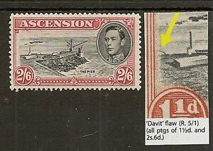 """ASCENSION 1938-53 2/6 """"DAVIT"""" FLAW SG45ca LIGHTLY HINGED CAT £1400"""