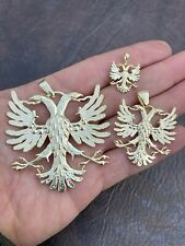 Gold Over Solid 925 Silver Double Headed Eagle Pendant Necklace Albania Kosova