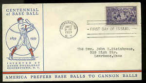 855  BASEBALL FDC COOPERSTOWN, NY PLANTY P61 LINPRINT CACHET