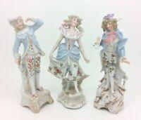 Antico Continental Danzanti Dandy Gentleman Lady Porcellana Figurina 15.2cm 15cm