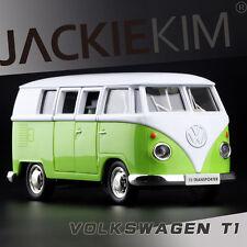 Green 1/43 Volkswagen VW 1962 T1 Transporter Van Samba Classic Bus Diecast Model