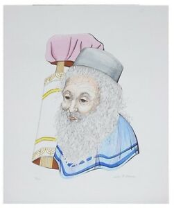 """""""RABBI WITH TORAH"""" BY JUSTINE SCHLACHTER SIGNED LITHOGRAPH LE OF 125 W/CoA 24X20"""