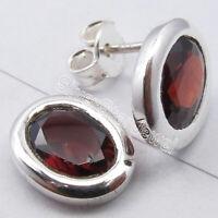 """Oval Shape Ear Stud, Facetted RED GARNET 925 Solid Silver Earrings 0.4"""" Jewelry"""