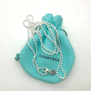 Tiffany & Co. Sterling Silver Large Ball Bead Beaded Toilet Chain 20' Necklace