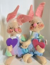 """Vintage Annalee Poseable 6"""" Bunny Rabbit Boy & Girl Doll with Valentines 1971"""