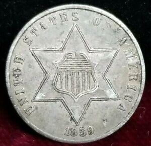 1859 3 Cents Silver Environmental Damage