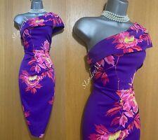 Violeta Tropical Estampado Floral Vestido De Karen Millen Asimétrico Fitted Size