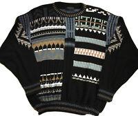 VTG Vittorio Rocchetti Sweater M  Black  Mens Graphic Geometric 90s Cosby NWOT