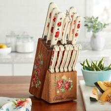 The Pioneer Woman Vintage Floral 14-Piece Cutlery Set with Wood Block free ship