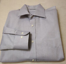Edles CHRISTIAN BERG Langarm Hemd, Baumwolle grau-weiß gestr. Gr. 48-50  KW 39