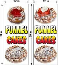 """PAIR OF 12"""" X 30""""  VINYL BANNERS FUNNEL CAKES NEW VERTICAL STRAWBERRY CHERRY"""