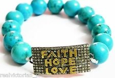 Scintillating Rose Cut Diamond & Turquoise Bead Studded Faith,Hope,Love Bracelet