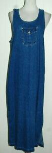 Vintage Bill Blass Blue Jean Denim Sleeveless Long Maxi Jumper Dress Medium