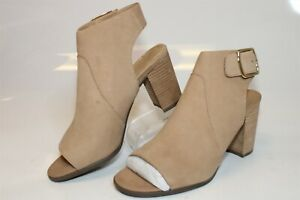 Vionic Blakely Womens 9.5 41.5 Beige Nubuck Leather Open Toe Booties Ankle Boots
